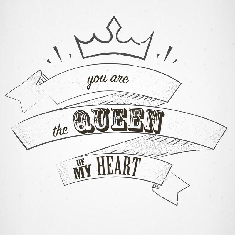 En vous marquant avec des lettres soyez la reine de mon coeur dans le style de dotwork illustration de vecteur