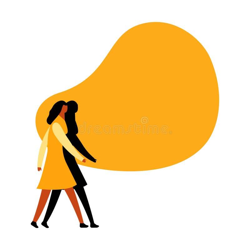 En vrouw die gebruikend toespraakbel lopen spreken Lege ruimte voor het bericht Idee van mededeling en bevordering vector illustratie