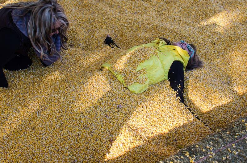 En vuxen kvinnlig får begravd av en annan kvinnlig vän i havrekärnor royaltyfria foton