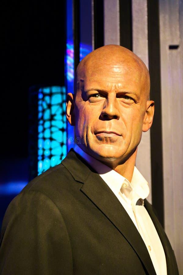 En waxwork av Bruce Willis på museet för madam Tussauds royaltyfria bilder