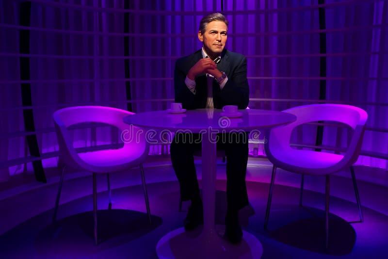 En waxwork av George Clooney på vaxmuseet för madam Tussauds royaltyfria bilder