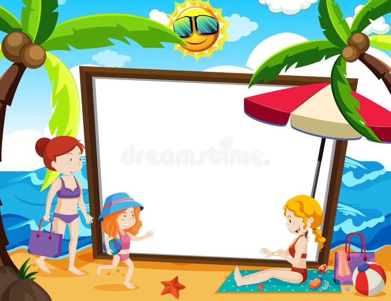 En Whiteboard med sommartema vektor illustrationer