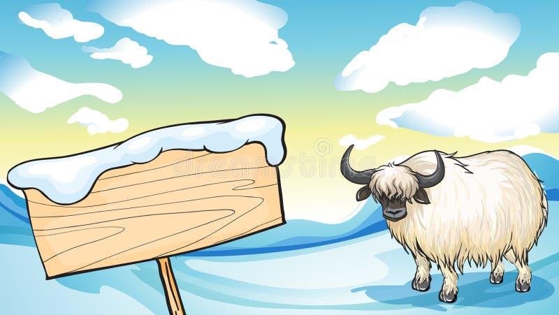 En yak i snön royaltyfri illustrationer