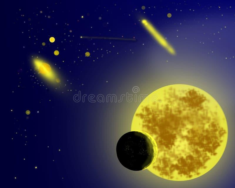 En yttre rymdtecknad filmbakgrund stock illustrationer