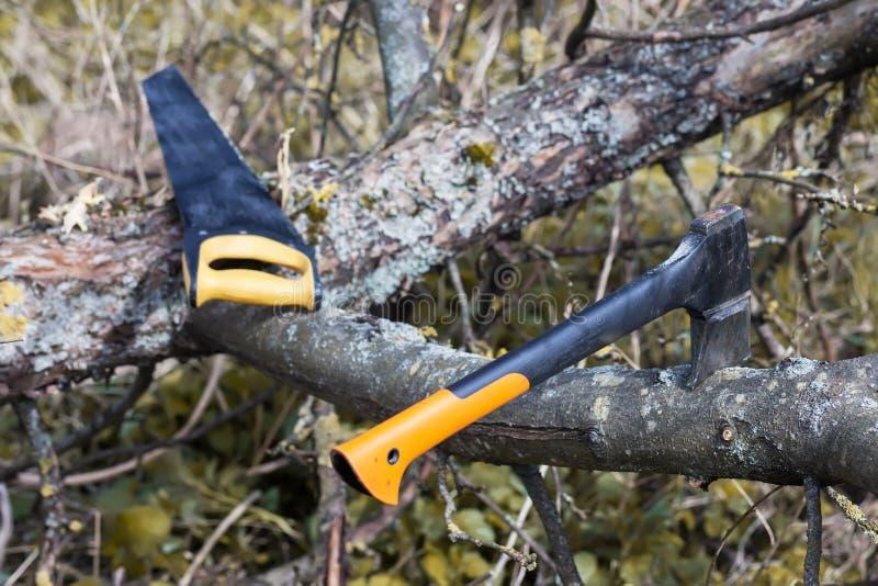 En yxa och en chainsaw royaltyfri fotografi