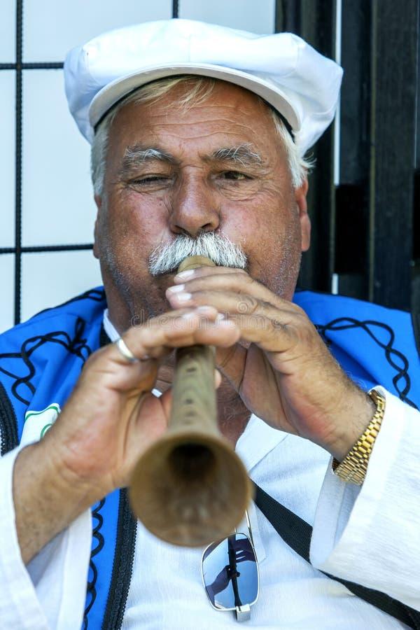 En zigensk flöjtspelare utför på festivalen för brottningen för Kirkpinar turkolja i Edirne i Turkiet royaltyfri fotografi