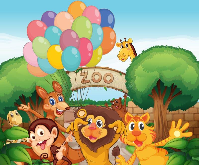 En zoo och djuren vektor illustrationer