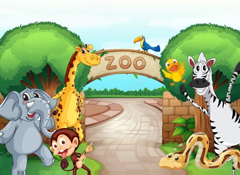 En zoo och djuren royaltyfri illustrationer
