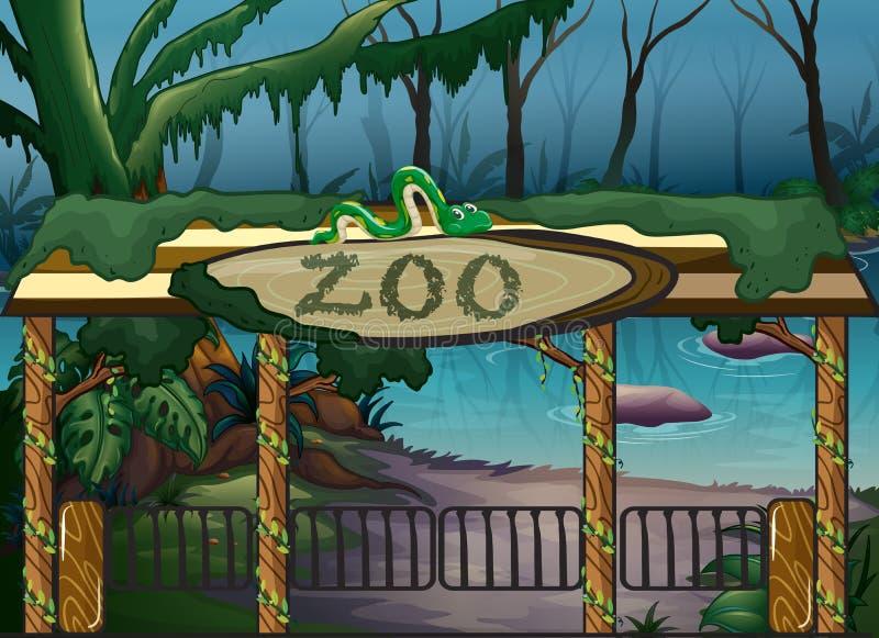 En zoo och en flod stock illustrationer