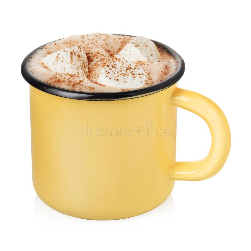 Enamel cup with hot cocoa. Yellow enamel cup with hot cocoa or chocolate and marshmallow isolated on white background stock image