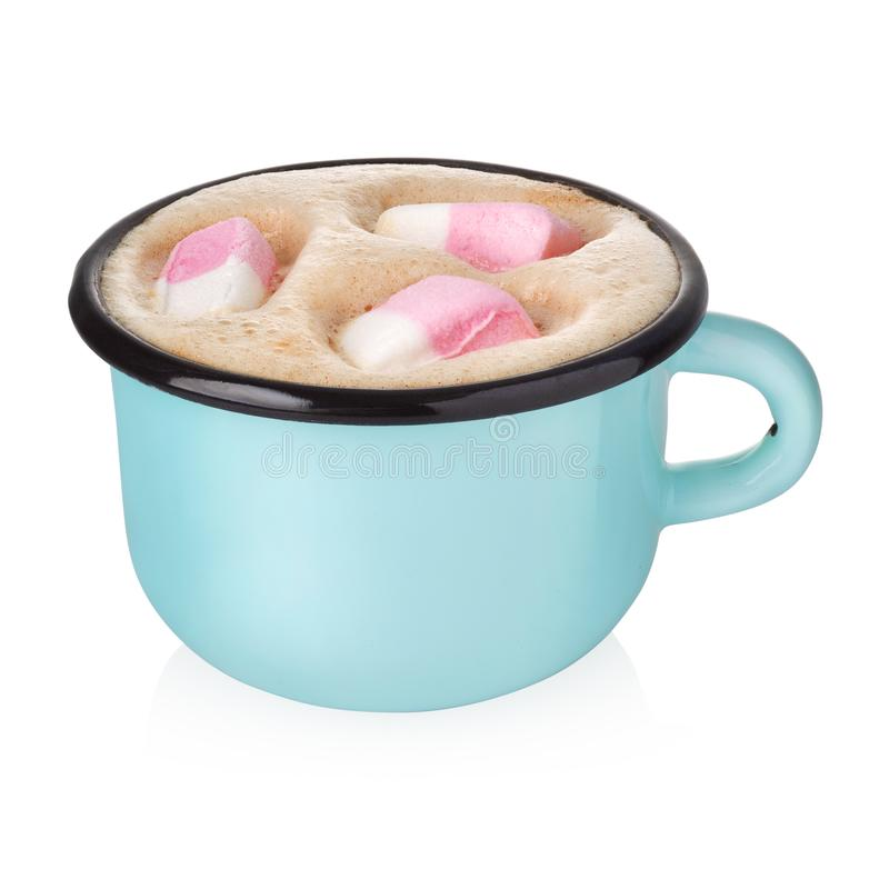 Free Enamel Cup With Hot Cocoa Stock Images - 131198584