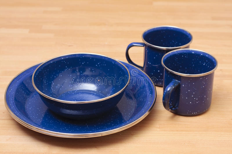Enamel plate set royalty free stock photo