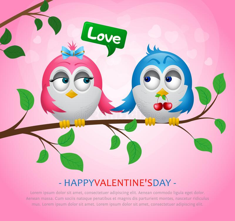 Free Enamored Birds Sit On A Tree Branch. A Boy Gives Berries To A Girl. Pink Background With Hearts. Royalty Free Stock Images - 205632179