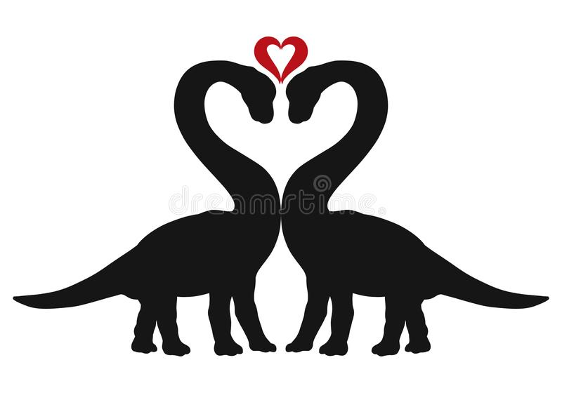 Enamored dinosaurs and heart, great romance.  vector illustration