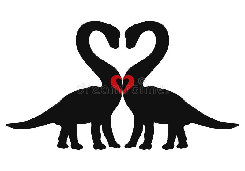 Enamored dinosaurs and heart, romance.  royalty free illustration