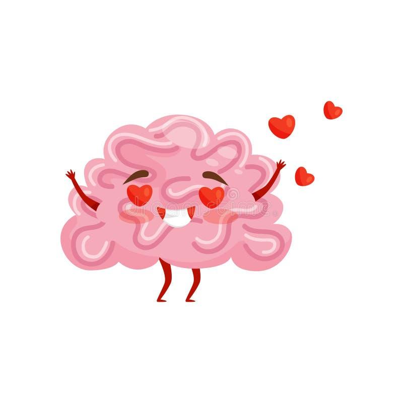 Enamored a humanisé le cerveau avec le visage heureux, coeurs rouges volant dans le ciel le chef heureux de crabots mignons effro illustration stock