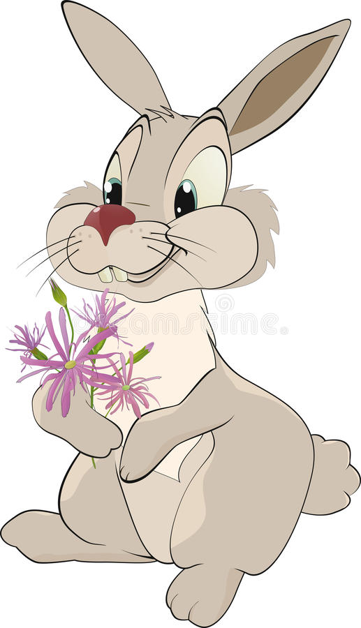 Enamored rabbit. With flowers hare royalty free illustration