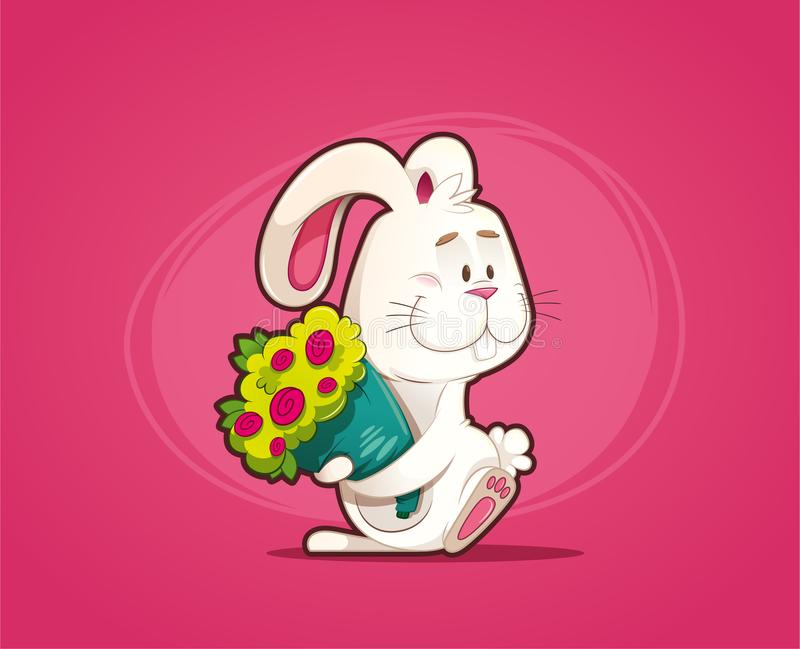 Enamored rabbit with bouquet of flowers royalty free stock photo