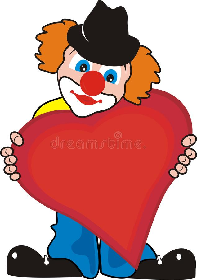 Enamoured lovely small clown with big heart vector illustration