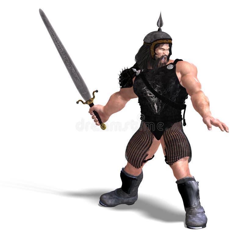 Enano fuerte con la espada stock de ilustración