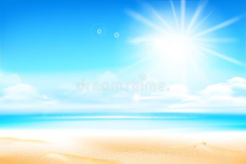Enarene la playa sobre el mar de la falta de definición y el cielo con la llamarada y el copysp de la luz del sol stock de ilustración