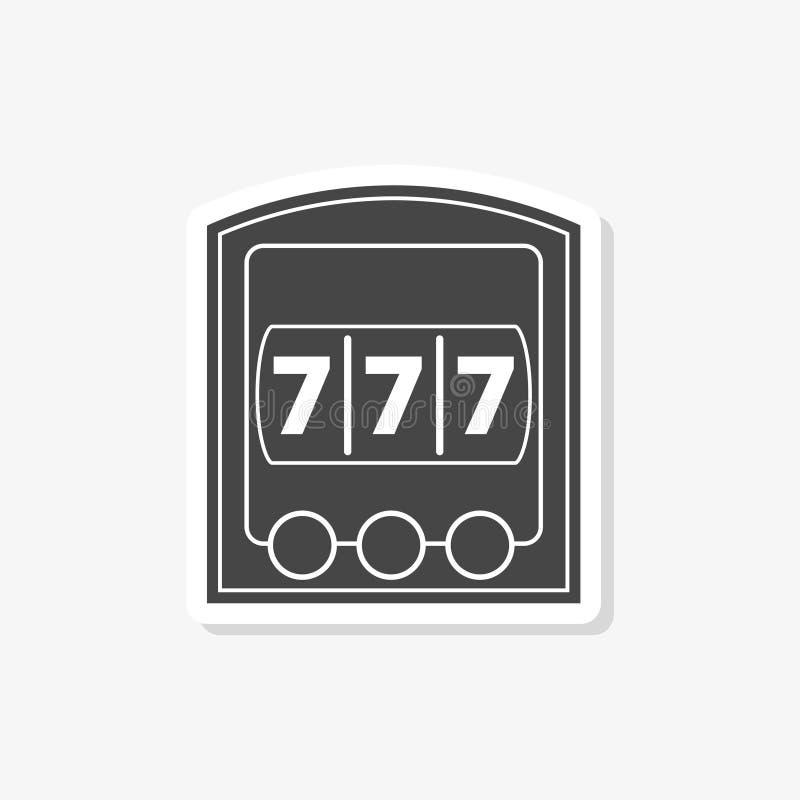 Enarmad banditjackpottklistermärke, kasinobegrepp, enkel symbol royaltyfri illustrationer
