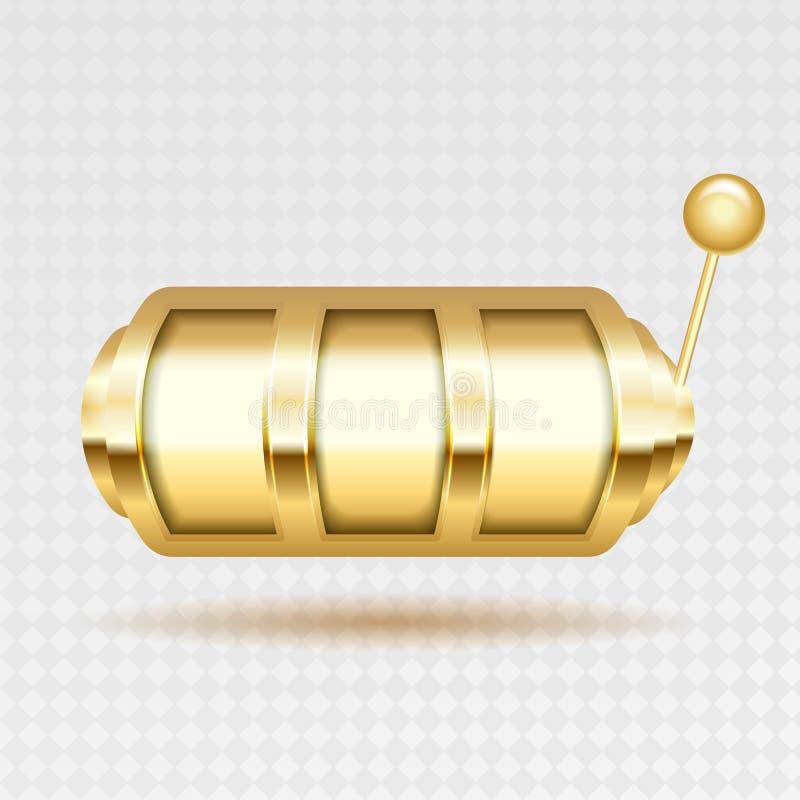 Enarmad banditvektor Guld- Lucky Empty Slot Affisch för jackpottdobblerimaskin royaltyfri illustrationer