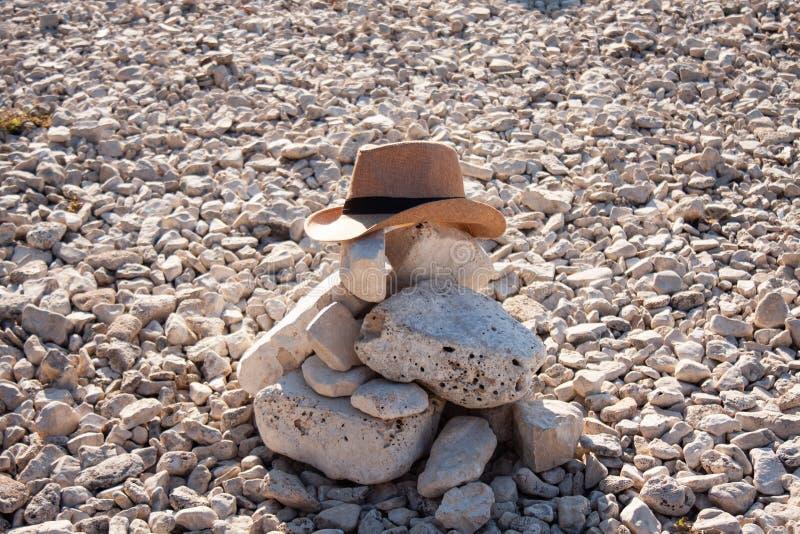 Enbart grav i en bergig öken med en cowboy-hatt arkivfoto