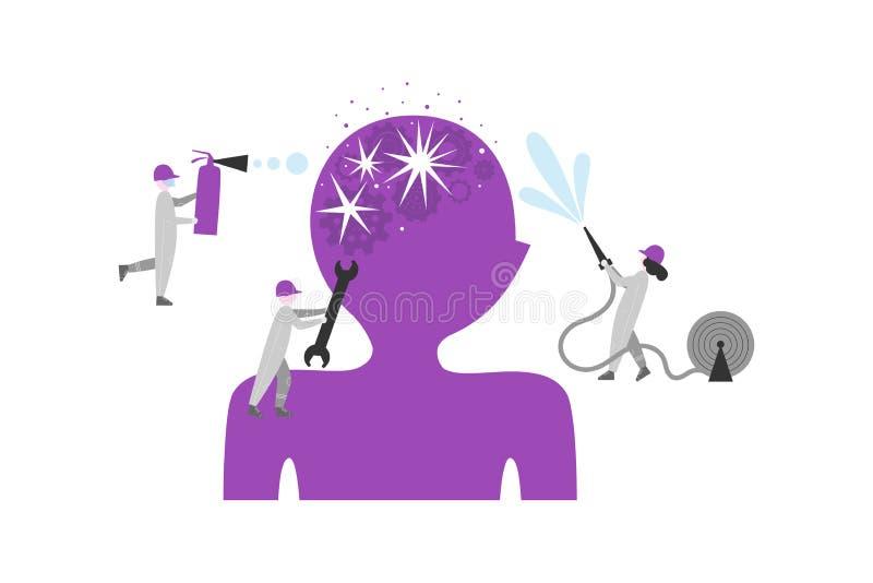 Encéphalopathie, illustration plate de trouble mental illustration libre de droits