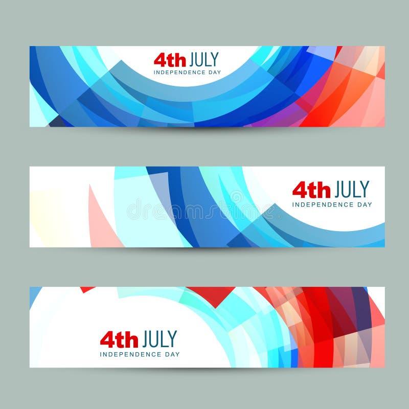 Encabeçamento americano do Dia da Independência ilustração do vetor