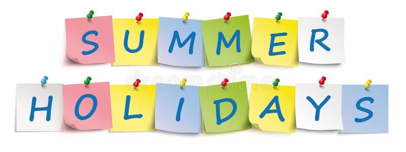 Encabeçamento colorido férias de verão dos pinos das varas ilustração stock