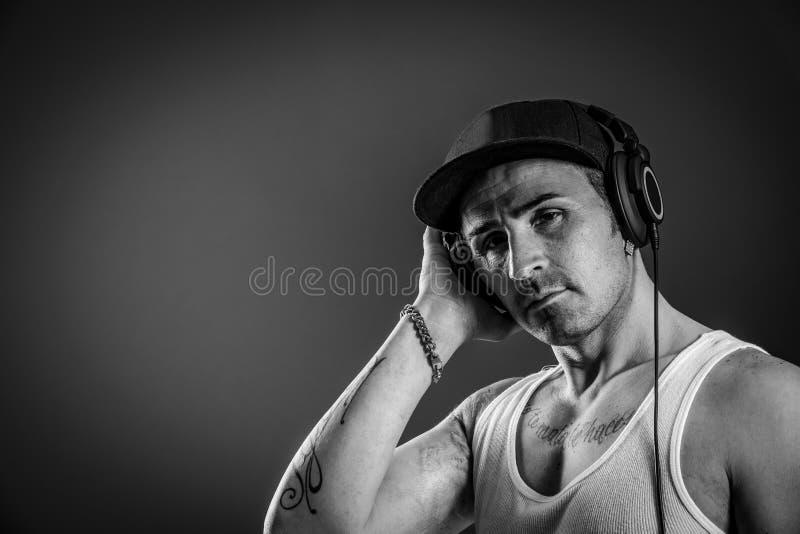 Encabeçamento do DJ - preto e branco imagem de stock royalty free