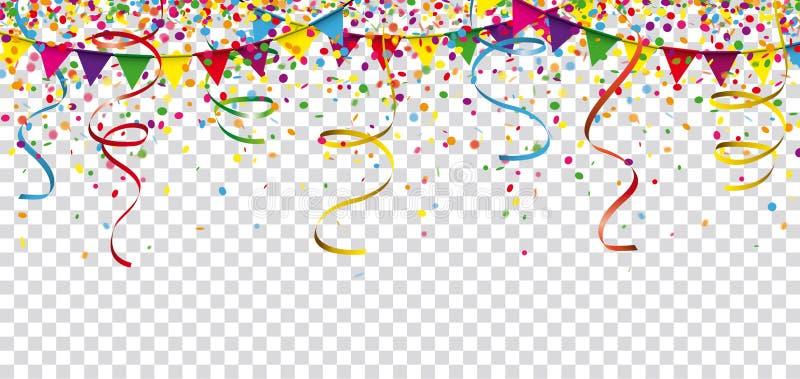Encabeçamento do festão das fitas dos confetes do carnaval transparente ilustração royalty free