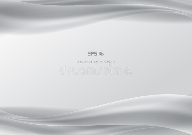 Encabeçamento do molde e CCB cinzento liso das ondas brancas abstratas dos pés de página ilustração stock