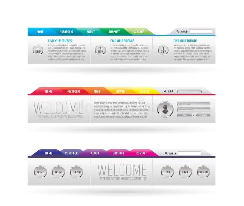 Encabeçamento do Web site com menu da navegação ilustração do vetor