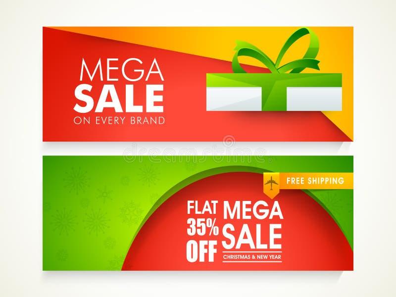 Encabeçamento ou bandeira da Web da venda pelo Natal e o ano novo ilustração stock