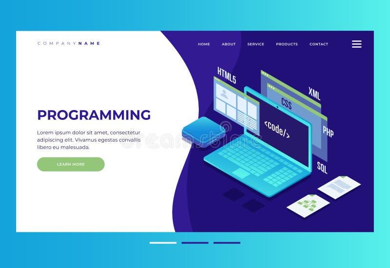 Encabeçamento para o Web site homepage Conceito do desenvolvimento da Web, programando e codificando ilustração stock