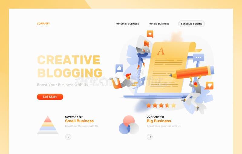 Encabeçamento publicando em blogs criativo do página da web ilustração stock
