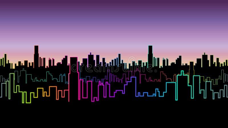 Encabeçamento sem emenda da cidade na noite com cor de néon versicolor Fulgor vívido dos contornos dos arranha-céus ilustração stock