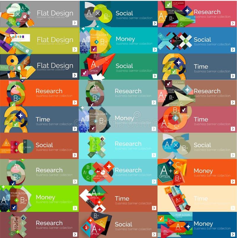 Encabeçamentos, bandeiras infographic da opção lisa do projeto ilustração royalty free