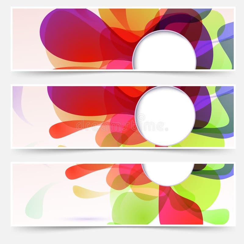 Encabeçamentos brilhantes da Web ajustados - líquido abstrato ilustração do vetor