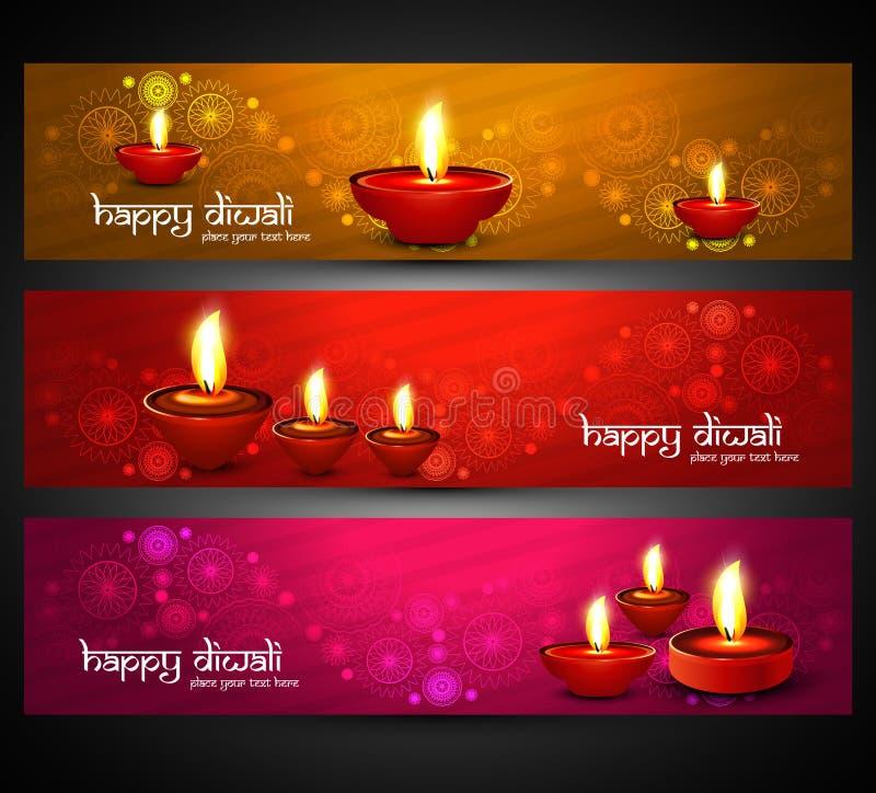 Encabeçamentos felizes coloridos brilhantes religiosos bonitos do diwali ajustados ilustração stock