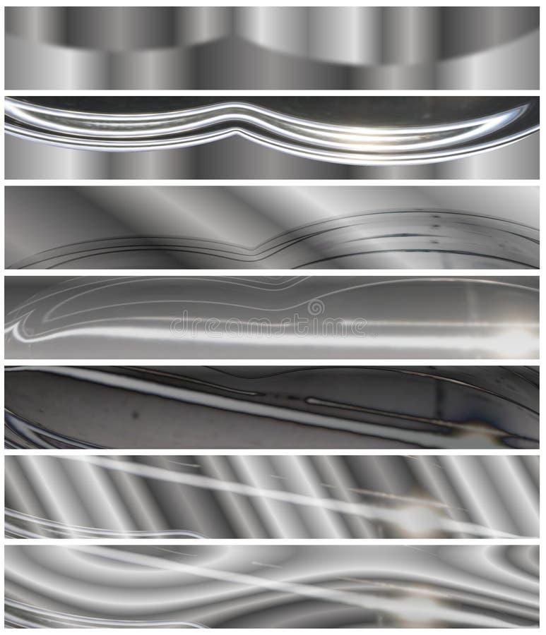 Encabeçamentos metálicos do cromo ajustados ilustração stock