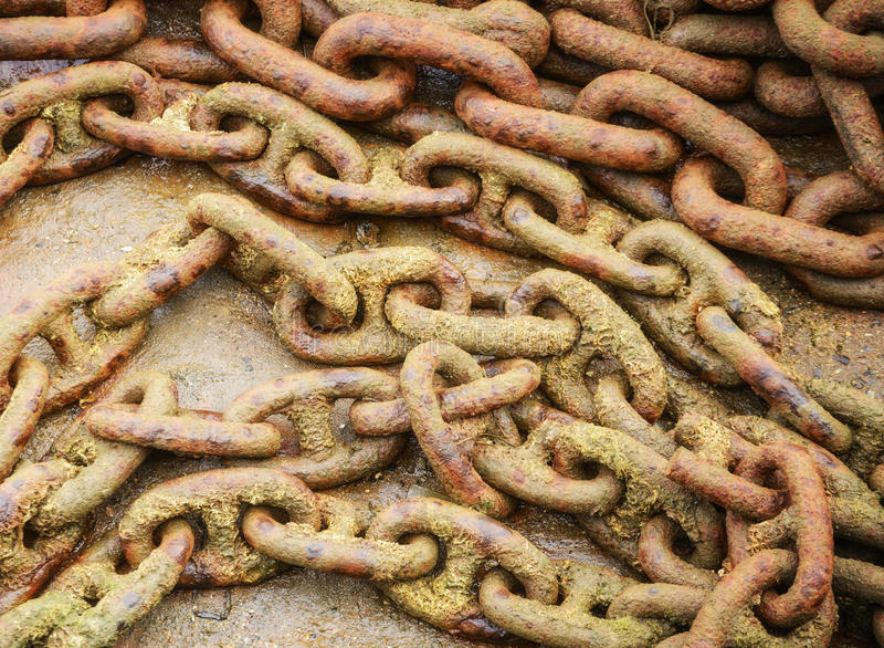 Encadenamiento oxidado foto de archivo