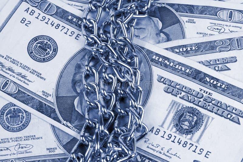 Encadenamientos del dinero fotos de archivo