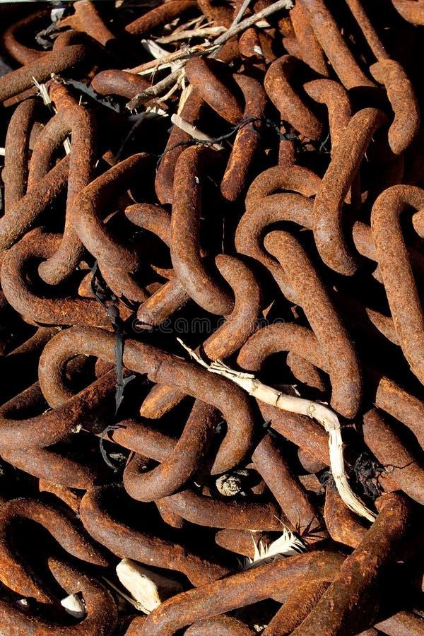 Encadenamientos oxidados - las conexiones de la vida imagenes de archivo