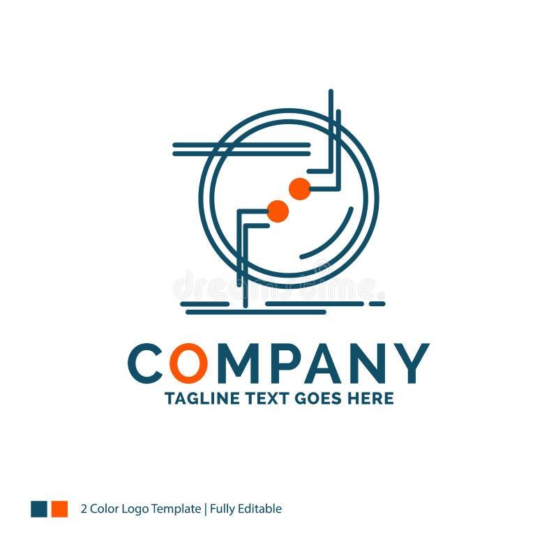 encadene, conecte, conexión, vínculo, alambre Logo Design Azul y Ora ilustración del vector