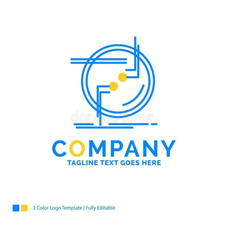 encadene, conecte, conexión, vínculo, logotipo amarillo azul del negocio del alambre ilustración del vector