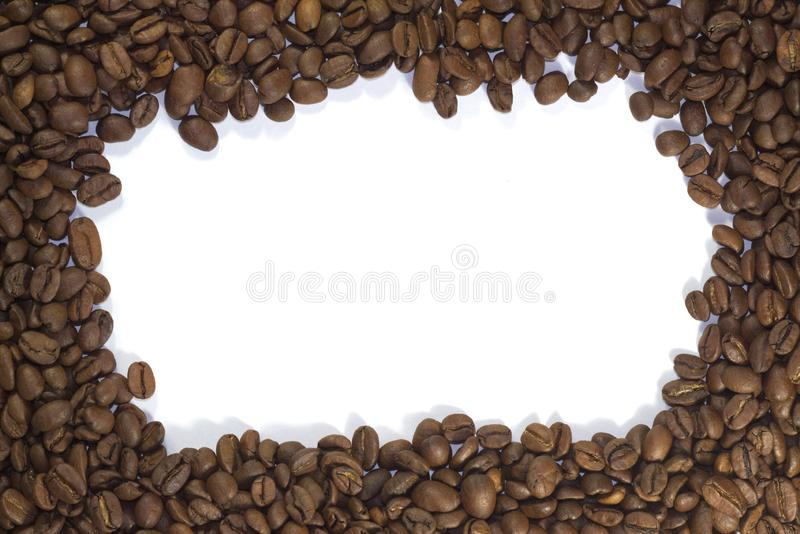 Encadrement des grains de café, avec un endroit vide pour votre inscription images libres de droits