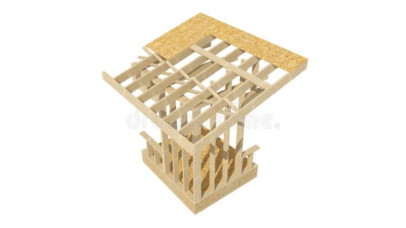Encadrement en bois de nouvelle maison de construction résidentielle illustration libre de droits